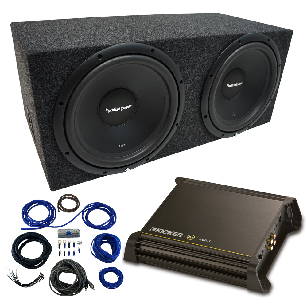 "Dual 12"" Rockford Fosgate Prime Sub Package with Kicker 11DX250.1 Refurbished Amp & Sealed Enclosure"