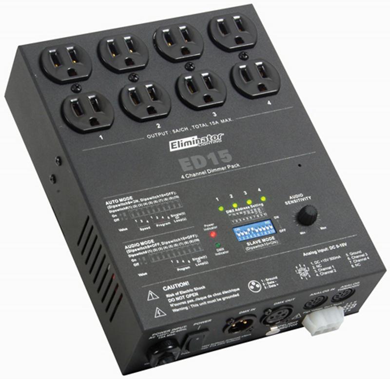 Eliminator Lighting ED-15 DMX Dimmer Pak Controller 4 Channel w/ Hanging Bracket