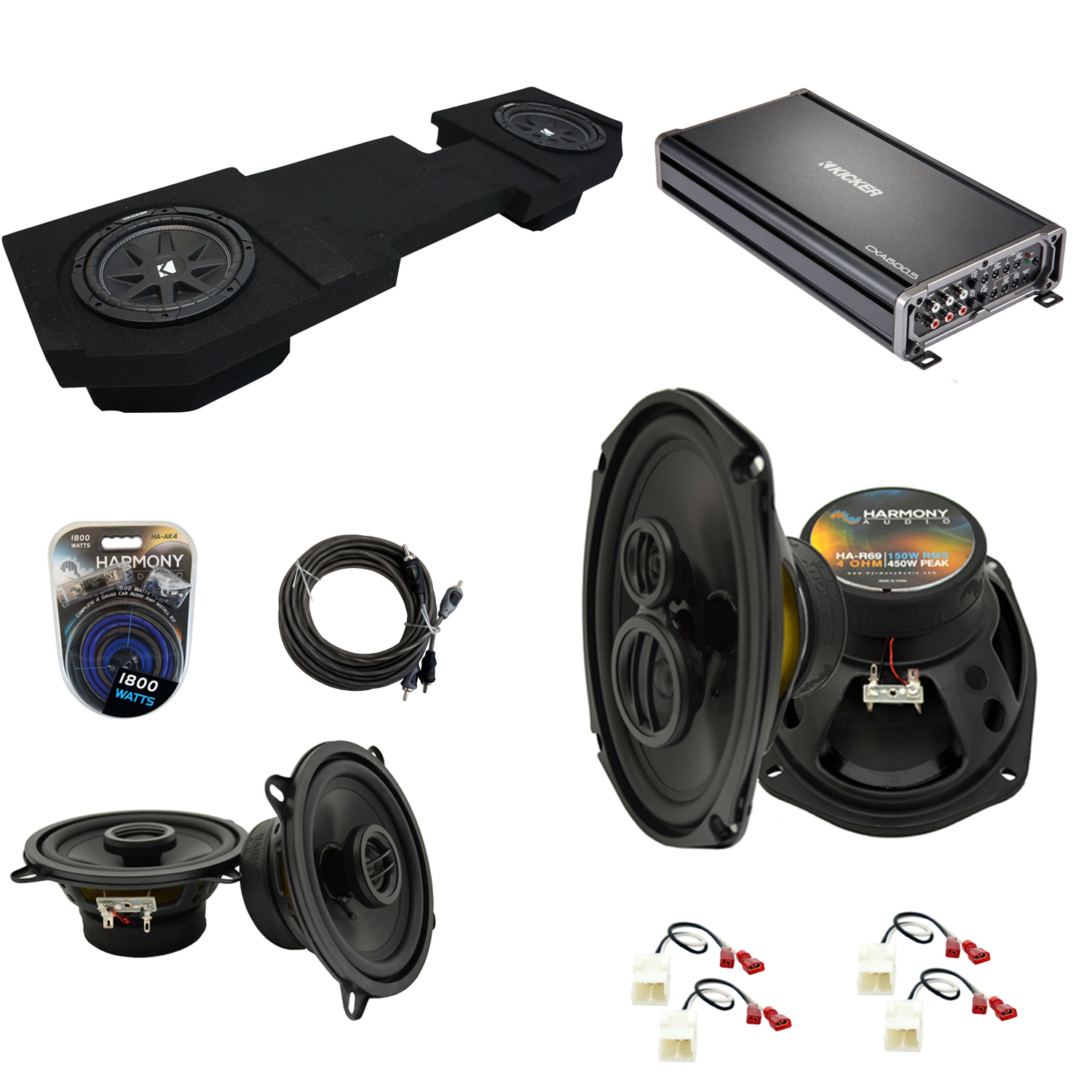 "Compatible with Dodge Ram 2002-2015 Quad or Crew Kicker Dual 10"" Sub Box & Speakers Pack"