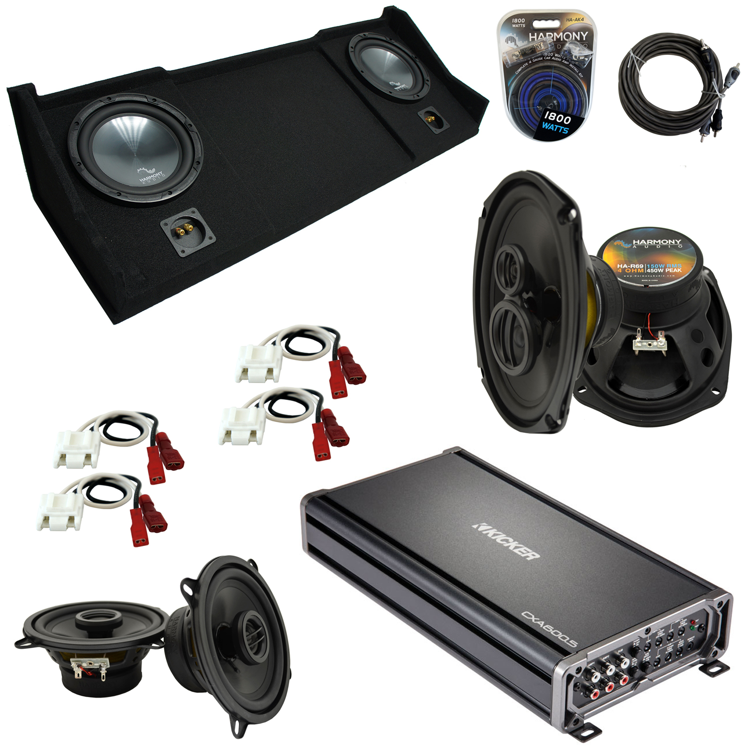 """Compatible with Dodge Ram 1998-2001 Ext or Club Cab Harmony Dual 10"""" Sub Box Speakers & Amp"""