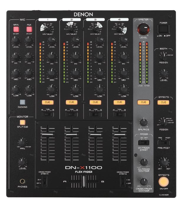 Denon DJ DN-X1100 Professional 4-Channel Tabletop or Rackmount Mixer (DNX1100) - Limited Quanities!