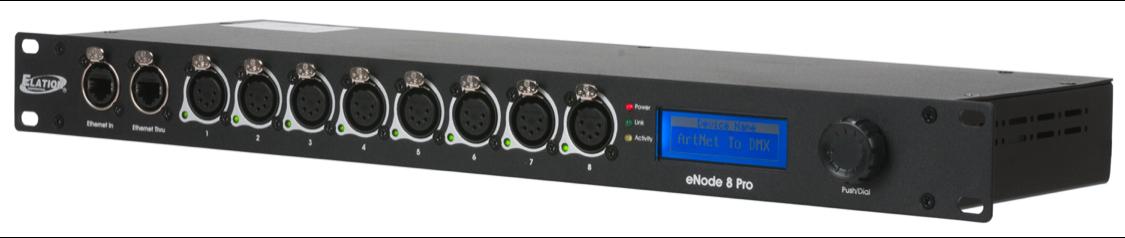Elation ENODE 8 PRO Ethernet Node with 8 DMX512 Outlets for Artnet & sACN Protocols (ENO417)