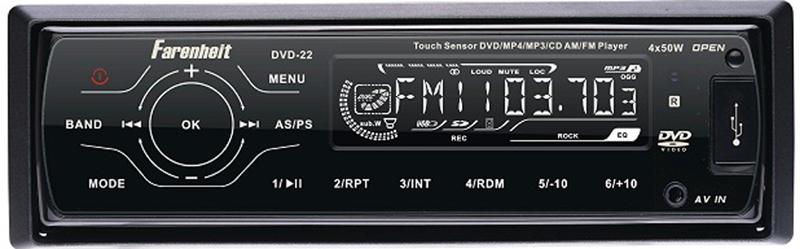 Farenheit DVD-22 1 Din DVD Player w/ AM / FM & SD / USB Readers