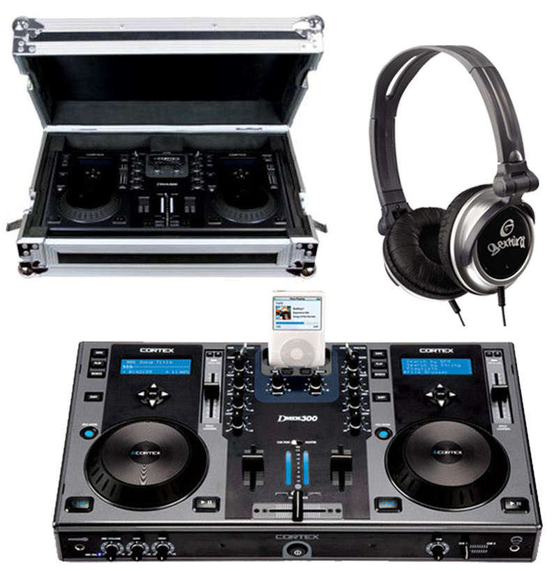 DJ Package Cortex DMIX-300 Pro iPod Digital Media Controller with Study Gig Carry Case & Monitor Over Ear Headphones System