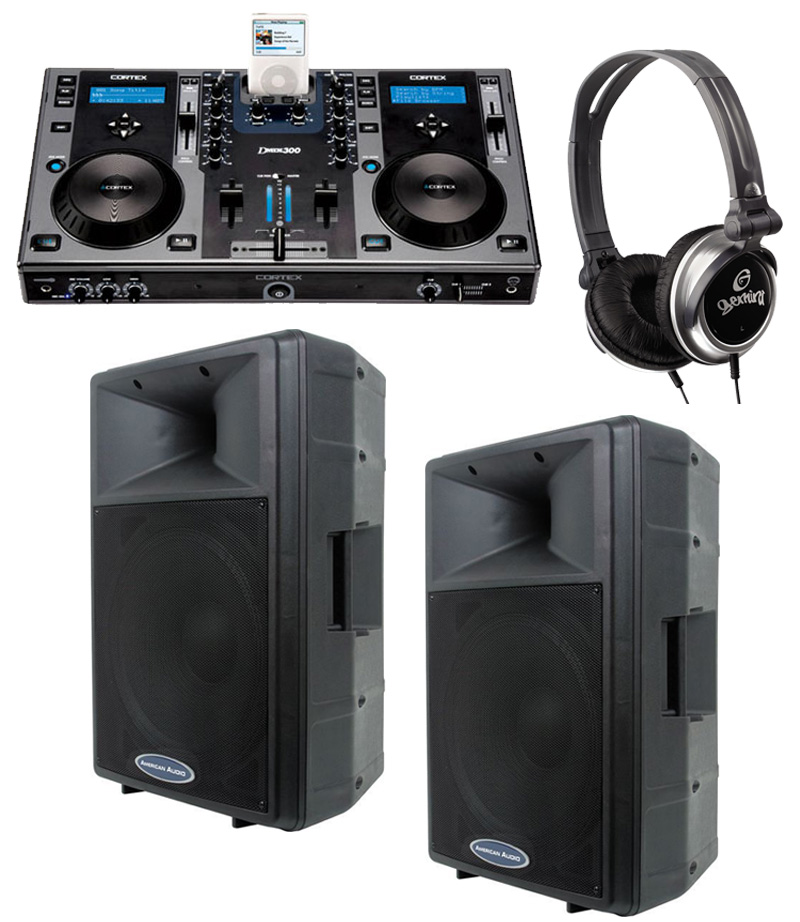 """DJ Package Cortex DMIX-300 Pro iPod Digital Media Controller, Monitor Headphones and American Audio DLS-15P 15"""" PA 300W 2-Way Speaker Pair System"""