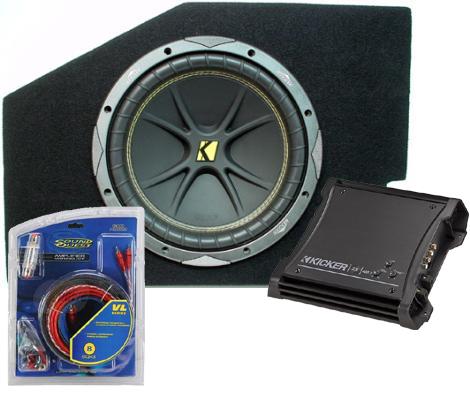 """Dodge Ram 02-08 Quad Cab Single 10"""" C10 Subwoofer Box W/ ZX400.1 Amplifier"""