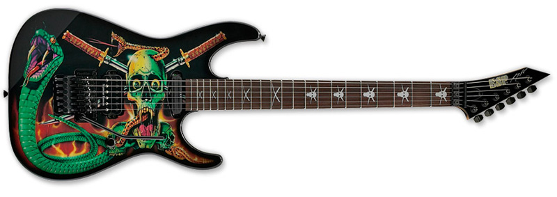 ESP SKULLS & SNAKES George Lynch Signature Series Electric Guitar - Maple w/ Rosewood Fingerboard Black w/ Skulls & Snakes Graphic Finish (EGLSS)