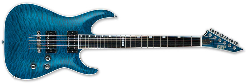 ESP Horizon NT II Standard Series Electric Guitar - Mahogany w/ Quilted Maple Top See Thru Blue Finish (EHORNTSTDSTB)