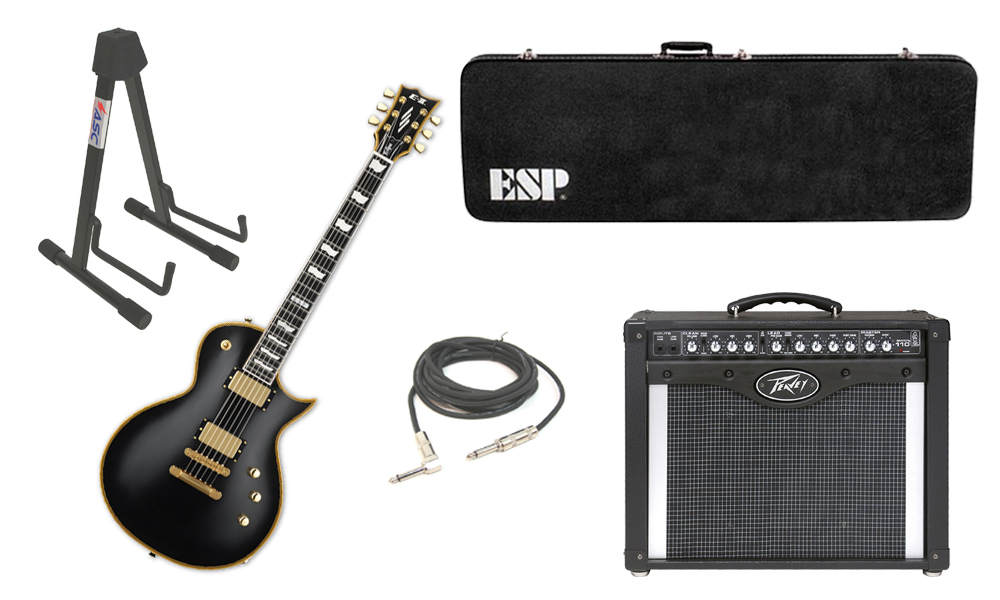 "ESP E-II Eclipse Maple Top 6 String Vintage Black Electric Guitar with Peavey Envoy 110 Tube Amp, 1/4"" Cable & Stand"