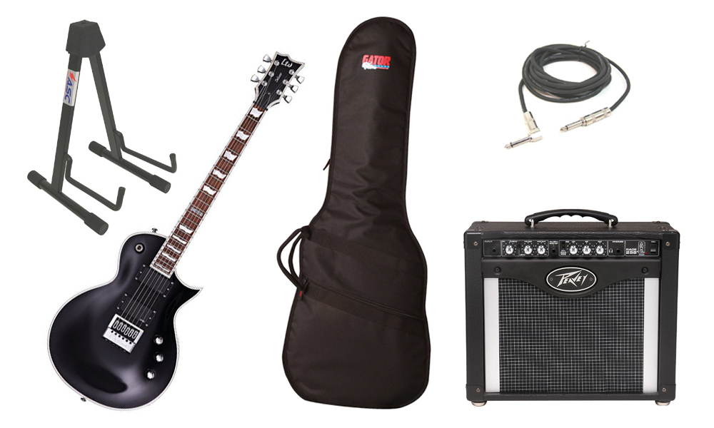 "ESP LTD EC Series EC-1000 Mahogany Body 6 String Evertune Black Electric Guitar with Peavey Rage 258 TransTube Amp, Gig Bag, 1/4"" Cable & Stand"