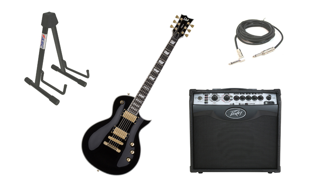 """ESP LTD EC Series EC-1000T Mahogany Body 6 String DiMarzio Hardware Black Electric Guitar with Peavey VIP 1 Modeling Amp, 1/4"""" Cable & Stand"""