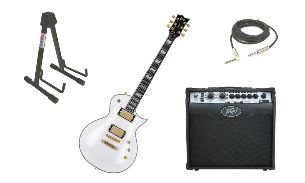 "ESP LTD EC Series EC-1000T Mahogany Body 6 String DiMarzio Hardware Snow White Electric Guitar with Peavey VIP 1 Modeling Amp, 1/4"" Cable & Stand"