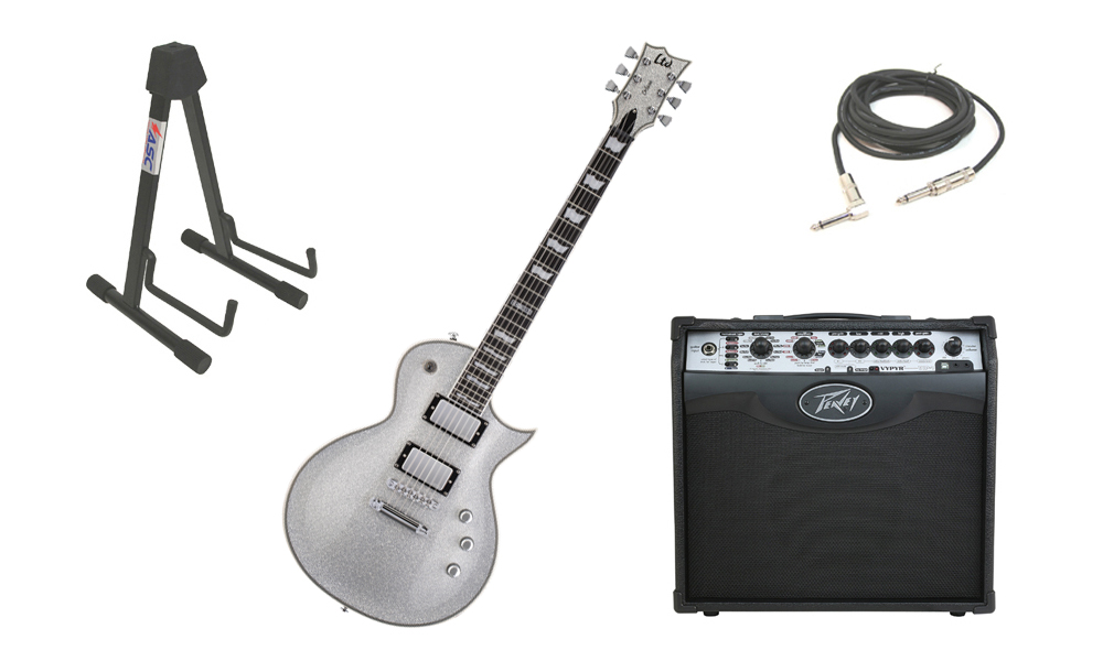 """ESP LTD EC Series EC-1000 Mahogany Body 6 String Silver Sparkle Electric Guitar with Peavey VIP 1 Modeling Amp, 1/4"""" Cable & Stand"""