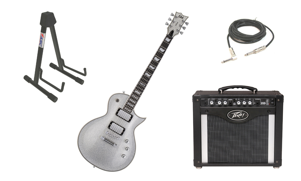 """ESP LTD EC Series EC-1000 Mahogany Body 6 String Silver Sparkle Electric Guitar with Peavey Rage 258 TransTube Amp, 1/4"""" Cable & Stand"""