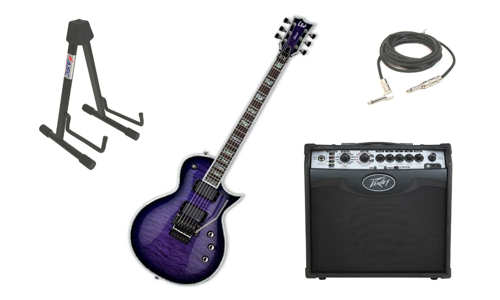 "ESP LTD EC Series EC-1000 Mahogany Body 6 String Floyd Rose Bridge Reindeer Blue Electric Guitar with Peavey VIP 1 Modeling Amp, 1/4"" Cable & Stand"
