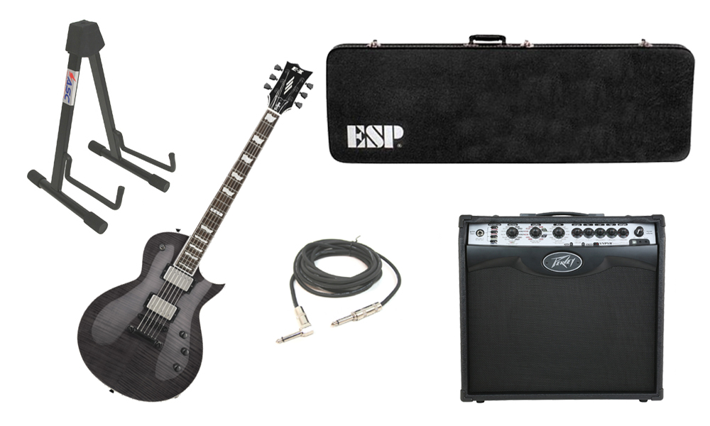 "ESP E-II Eclipse Flamed Maple Top 6 String See Through Black Electric Guitar with Peavey VIP 2 Modeling Amp, 1/4"" Cable & Stand"