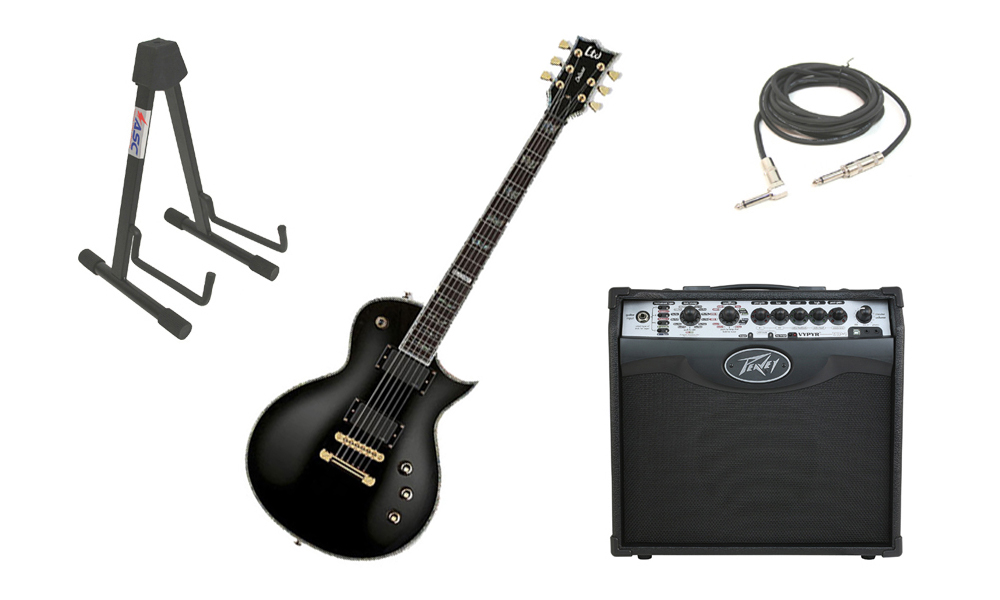 "ESP LTD EC Series EC-1000T Mahogany Body 6 String Ebony Fingerboard Black Electric Guitar with Peavey VIP 1 Modeling Amp, 1/4"" Cable & Stand"