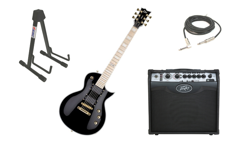 "ESP LTD EC Series EC-1000T Mahogany Body 6 String Maple Fingerboard Black Electric Guitar with Peavey VIP 1 Modeling Amp, 1/4"" Cable & Stand"