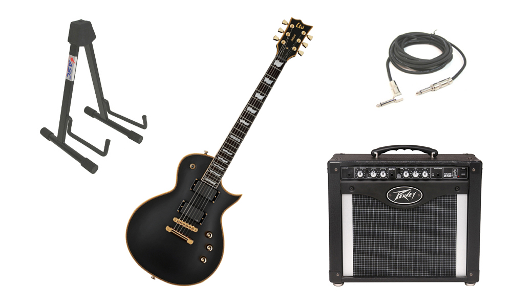 "ESP LTD EC Series EC-1000 Mahogany Body 6 String Ebony Fingerboard Vintage Black Electric Guitar with Peavey Rage 258 TransTube Amp, 1/4"" Cable & Stand"