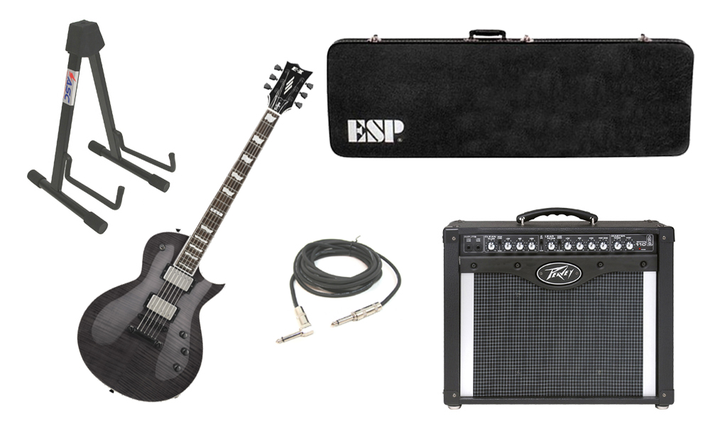 "ESP E-II Eclipse Flamed Maple Top 6 String See Through Black Electric Guitar with Peavey Envoy 110 Tube Amp, 1/4"" Cable & Stand"