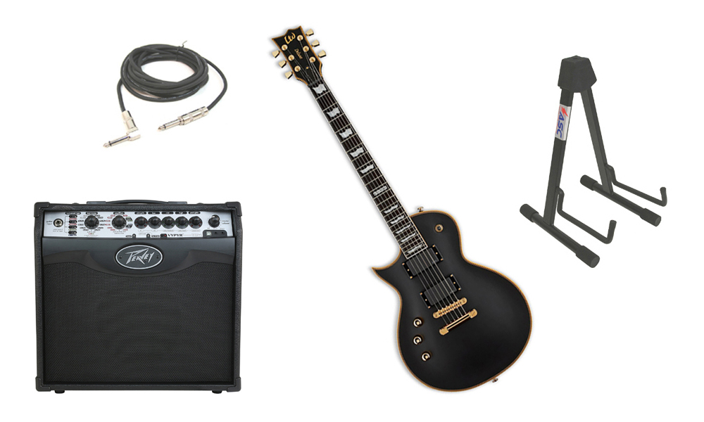"ESP LTD EC Series EC-1000 Mahogany Body 6 String Ebony Fingerboard Vintage Black Electric Guitar (Left Hand) with Peavey VIP 1 Modeling Amp, 1/4"" Cable & Stand"