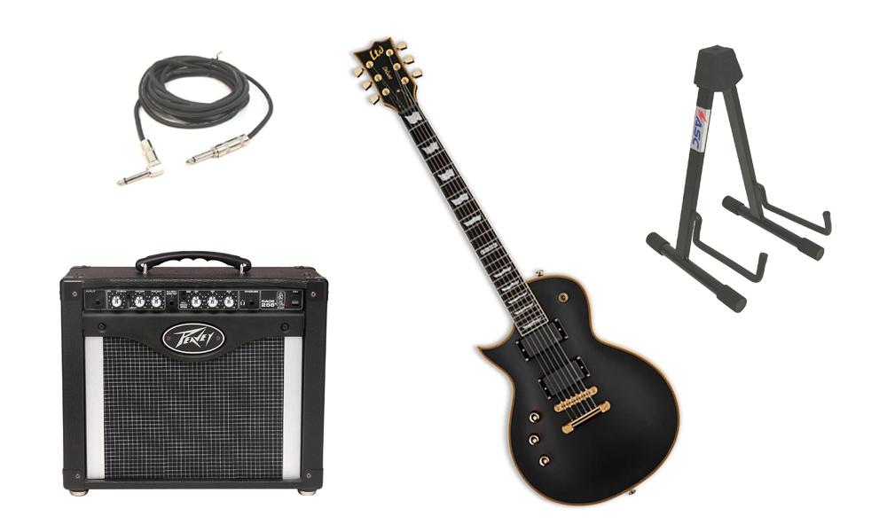 "ESP LTD EC Series EC-1000 Mahogany Body 6 String Ebony Fingerboard Vintage Black Electric Guitar (Left Hand) with Peavey Rage 258 TransTube Amp, 1/4"" Cable & Stand"