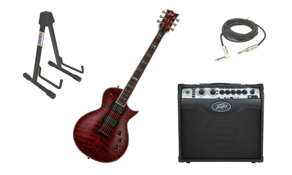 """ESP LTD EC Series EC-1000QM Quilted Maple Top 6 String Rosewood Fingerboard See Through Black Cherry Electric Guitar with Peavey VIP 1 Modeling Amp, 1/4"""" Cable & Stand"""