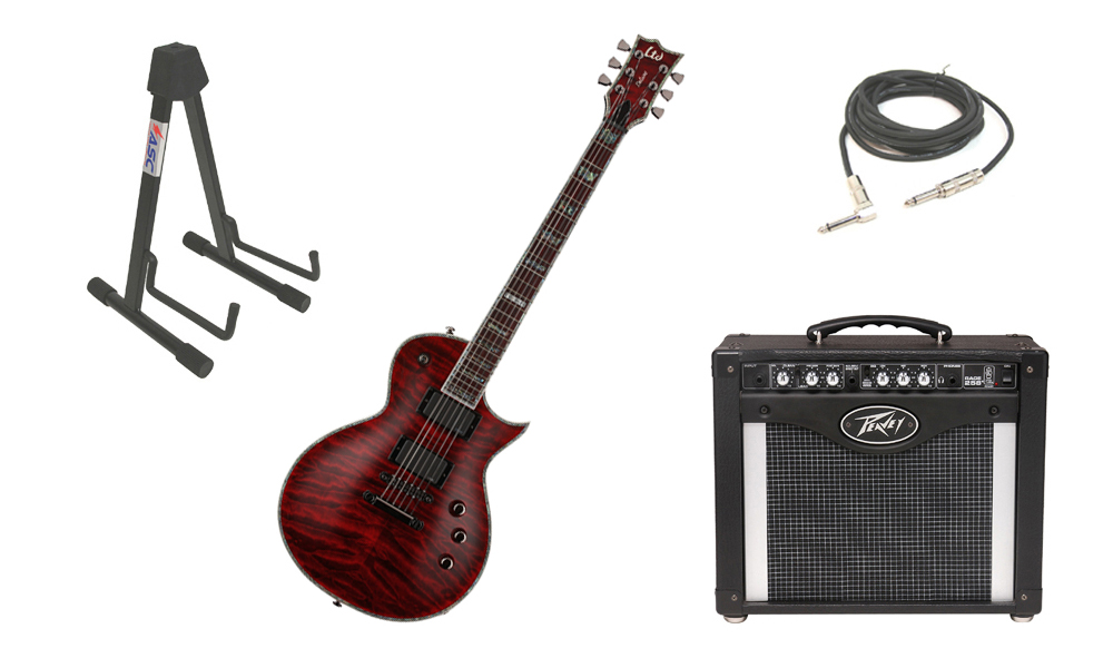 "ESP LTD EC Series EC-1000QM Quilted Maple Top 6 String Rosewood Fingerboard See Through Black Cherry Electric Guitar with Peavey Rage 258 TransTube Amp, 1/4"" Cable & Stand"