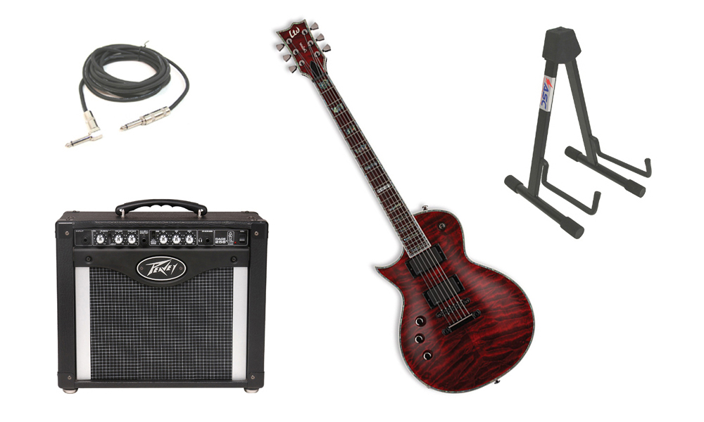 """ESP LTD EC Series EC-1000QM Quilted Maple Top 6 String Rosewood Fingerboard See Through Black Cherry Electric Guitar (Left Hand) with Peavey Rage 258 TransTube Amp, 1/4"""" Cable & Stand"""