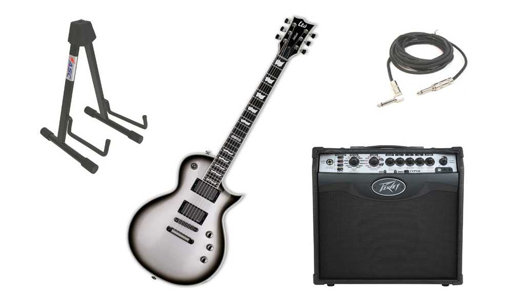 "ESP LTD EC Series EC-1000 Mahogany Body 6 String Ebony Fingerboard Silver Sunburst Electric Guitar with Peavey VIP 1 Modeling Amp, 1/4"" Cable & Stand"