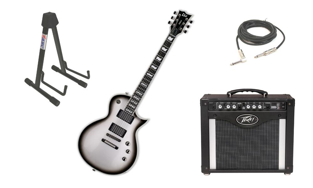 "ESP LTD EC Series EC-1000 Mahogany Body 6 String Ebony Fingerboard Silver Sunburst Electric Guitar with Peavey Rage 258 TransTube Amp, 1/4"" Cable & Stand"