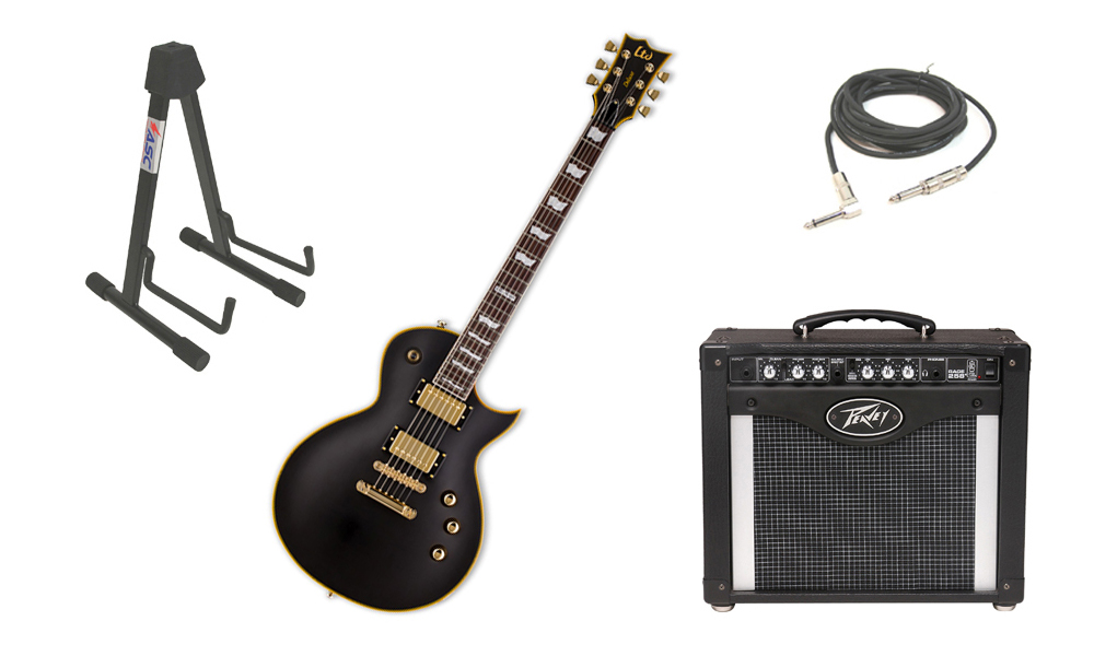 "ESP LTD EC Series EC-1000 Mahogany Body 6 String Rosewood Fingerboard Seymour Duncan Vintage Black Electric Guitar with Peavey Rage 258 TransTube Amp, 1/4"" Cable & Stand"