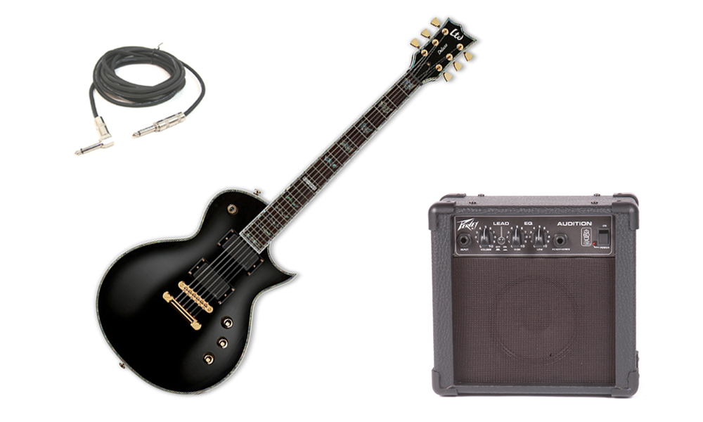 "ESP LTD EC Series EC-1000 Mahogany Body 6 String Rosewood Fingerboard Black Electric Guitar with Peavey Audition Practice Amp & 1/4"" Cable"