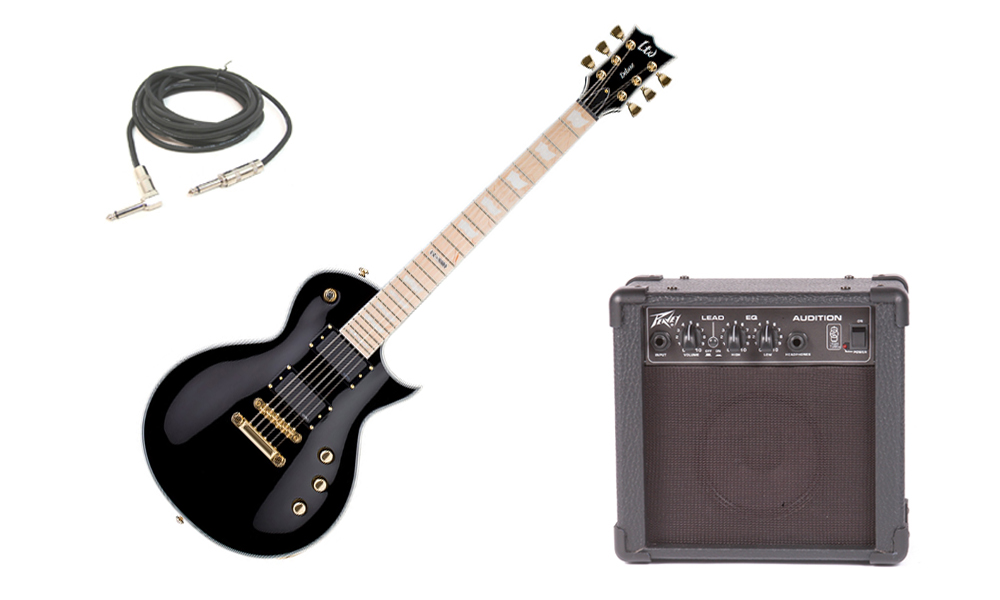"""ESP LTD EC Series EC-1000 Mahogany Body 6 String Maple Fingerboard Black Electric Guitar with Peavey Audition Practice Amp & 1/4"""" Cable"""
