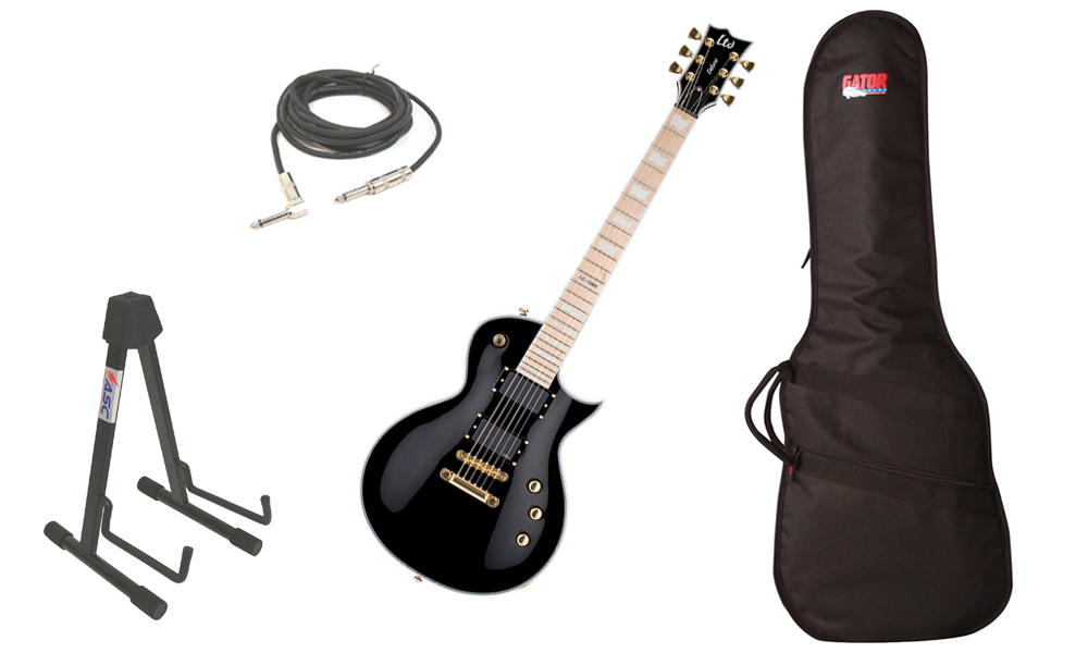 """ESP LTD EC Series EC-1000 Mahogany Body 6 String Maple Fingerboard Black Electric Guitar with Travel Gig Bag, Stand & 1/4"""" Cable"""