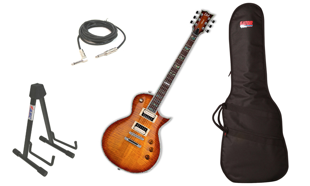 "ESP LTD EC Series EC-1000 Flamed Maple Top 6 String Rosewood Fingerboard Amber Sunburst Electric Guitar with Travel Gig Bag, Stand & 1/4"" Cable"