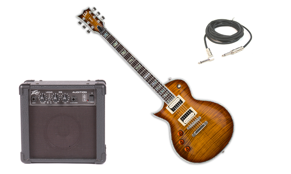 """ESP LTD EC Series EC-1000 Flamed Maple Top 6 String Rosewood Fingerboard Amber Sunburst Electric Guitar (Left Hand) with Peavey Audition Practice Amp & 1/4"""" Cable"""