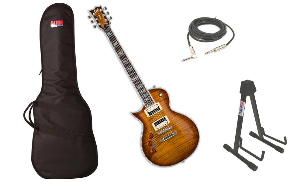 "ESP LTD EC Series EC-1000 Flamed Maple Top 6 String Rosewood Fingerboard Amber Sunburst Electric Guitar (Left Hand) with Travel Gig Bag, Stand & 1/4"" Cable"