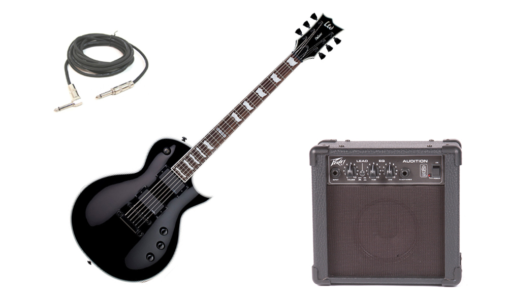 """ESP LTD EC Series EC-1000S Mahogany Body 6 String Rosewood Fingerboard EMG Pickups Black Electric Guitar with Peavey Audition Practice Amp & 1/4"""" Cable"""