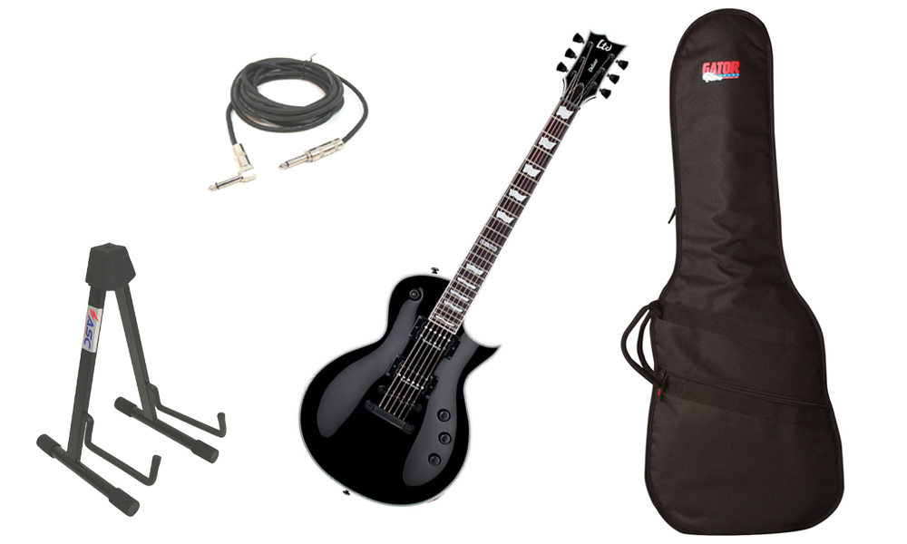 "ESP LTD EC Series EC-1000S Mahogany Body 6 String Rosewood Fingerboard Seymour Duncan Pickups Black Electric Guitar with Travel Gig Bag, Stand & 1/4"" Cable"