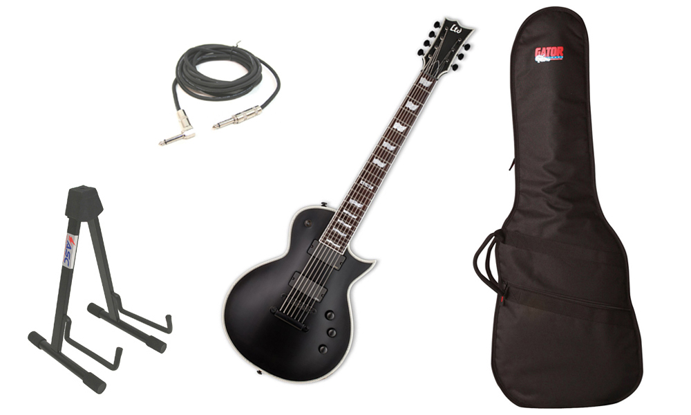 "ESP LTD EC Series EC-407 Mahogany Body 7 String Rosewood Fingerboard Black Satin Electric Guitar with Travel Gig Bag, Stand & 1/4"" Cable"