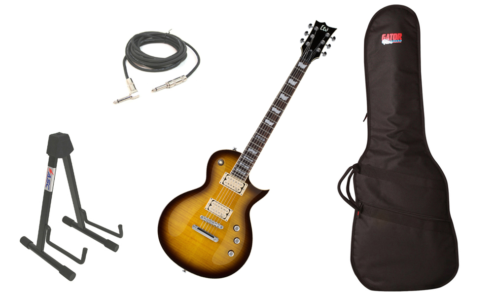 """ESP LTD EC Series EC-401VF Flamed Maple Top 6 String Rosewood Fingerboard DiMarzio Pickups Tobacco Sunburst Electric Guitar with Travel Gig Bag, Stand & 1/4"""" Cable"""