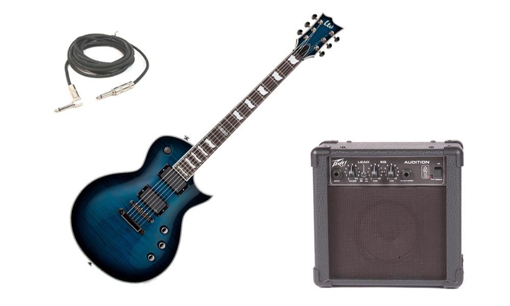 "ESP LTD EC Series EC-401FM Flamed Maple Top 6 String Rosewood Fingerboard EMG Pickups Black Aqua Sunburst Electric Guitar with Peavey Audition Practice Amp & 1/4"" Cable"