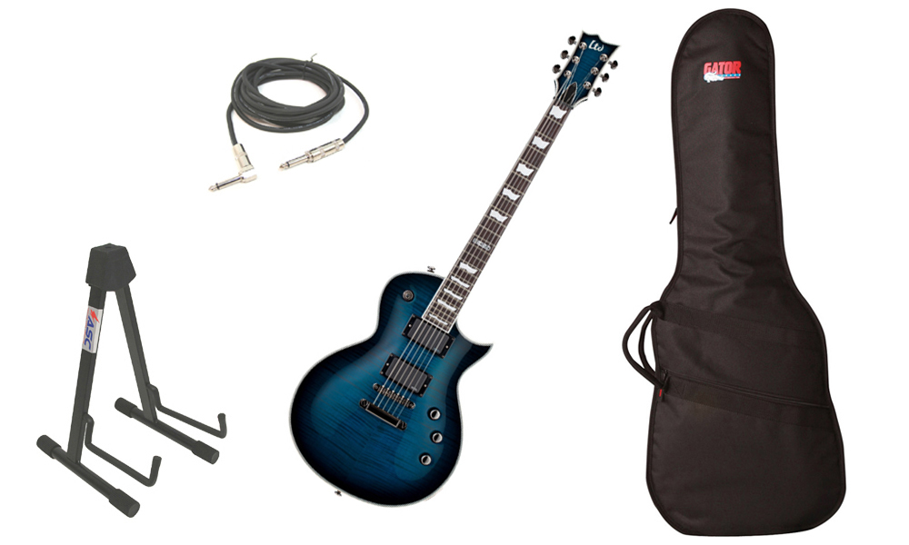 "ESP LTD EC Series EC-401FM Flamed Maple Top 6 String Rosewood Fingerboard EMG Pickups Black Aqua Sunburst Electric Guitar with Travel Gig Bag, Stand & 1/4"" Cable"