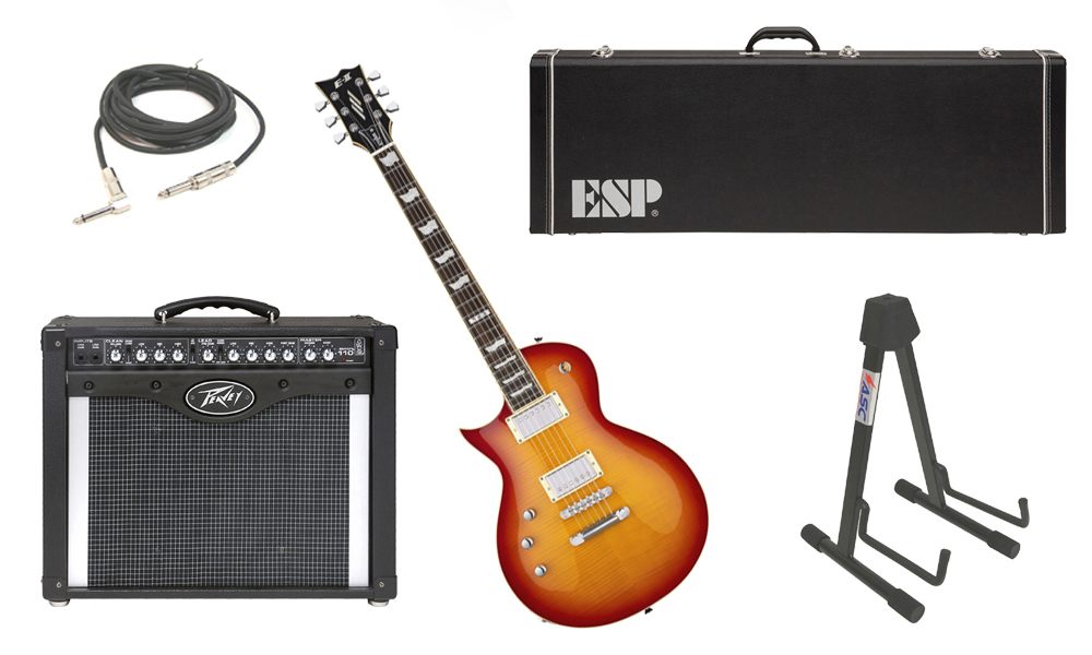 """ESP E-II Eclipse Flamed Maple Top 6 String Cherry Sunburst (Left Hand) Electric Guitar with Peavey Envoy 110 Tube Amp, 1/4"""" Cable & Stand"""