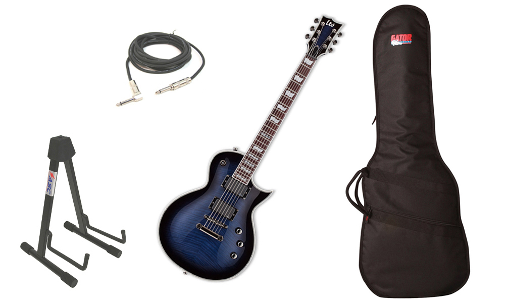 "ESP LTD EC Series EC-401FM Flamed Maple Top 6 String Rosewood Fingerboard EMG Pickups Reindeer Blue Electric Guitar with Travel Gig Bag, Stand & 1/4"" Cable"
