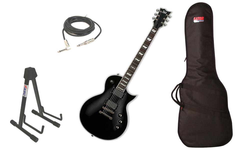 "ESP LTD EC Series EC-401 Mahogany Body 6 String Rosewood Fingerboard EMG Pickups Black Electric Guitar with Travel Gig Bag, Stand & 1/4"" Cable"