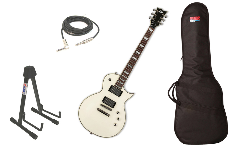 "ESP LTD EC Series EC-401 Mahogany Body 6 String Rosewood Fingerboard EMG Pickups Olympic White Electric Guitar with Travel Gig Bag, Stand & 1/4"" Cable"