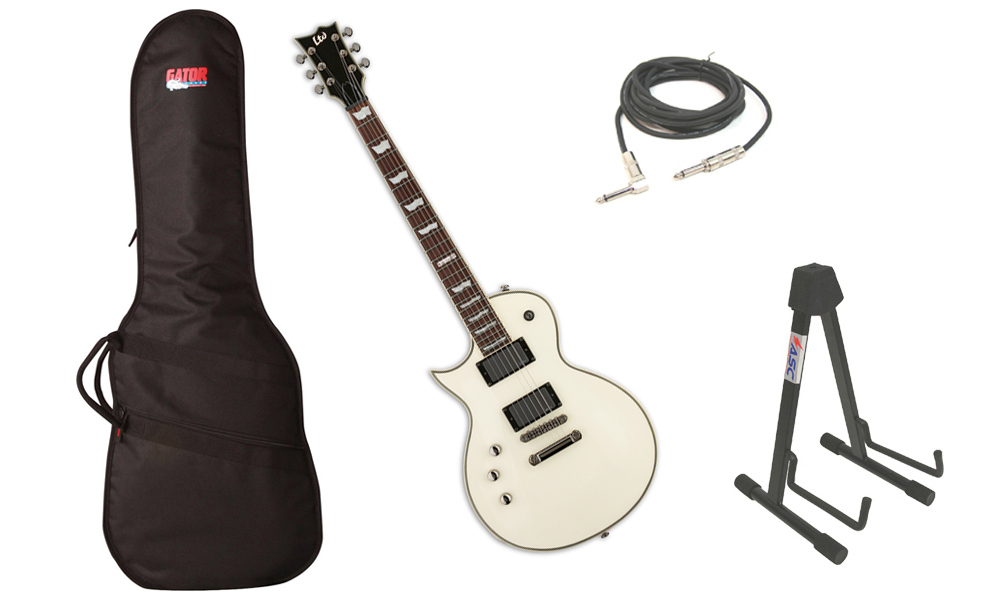 "ESP LTD EC Series EC-401 Mahogany Body 6 String Rosewood Fingerboard EMG Pickups Olympic White Electric Guitar (Left Hand) with Travel Gig Bag, Stand & 1/4"" Cable"