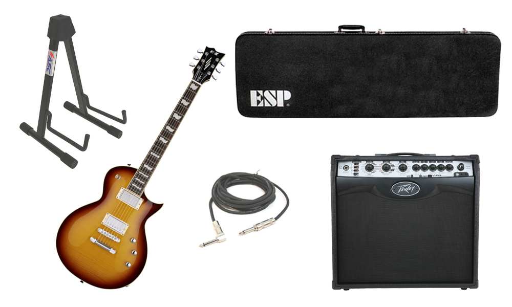 """ESP E-II Eclipse Flamed Maple Top 6 String Tobacco Sunburst Electric Guitar with Peavey VIP 2 Modeling Amp, 1/4"""" Cable & Stand"""